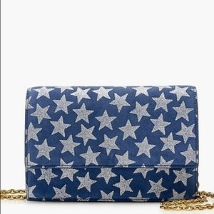J. Crew blue silver star convertible clutch